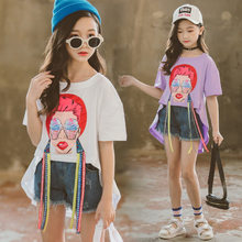 Baby Girls Fashion Clothes 2019 Summer New Children Cartoon Red Lips Beauty Dovetail Tshirt Flare Sleeve Webbing Top 5-14