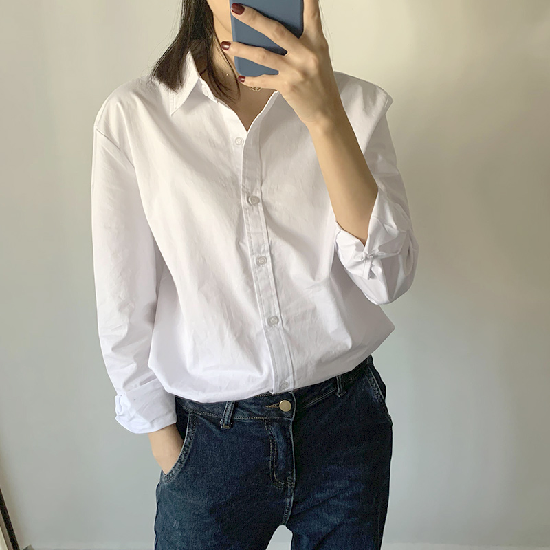 2020 Spring New Arrival Women Blouse Casual Loose Shirts Fashion Collar Plus Size White Shirt Long Sleeve Buttons Work Wear Tops