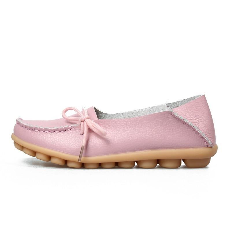 VIGOR/Женская обувь на плоской подошве; сезон весна; Женская Осенняя обувь из натуральной кожи; оксфорды; мокасины из натуральной кожи на плоской подошве; S80 - Цвет: Розовый