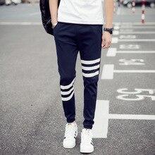 Mens Sport Slacks Cotton Polyester Blended Three-bar Haren Pants Running Street Fashion Casual Large Size M-5xl