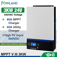 Bluetooth Inverter 3000W 500Vdc PV 230Vac 24Vdc 80A MPPT Solar Charger Support Mobile Monitoring USB LCD Control