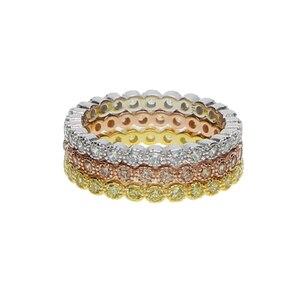 Image 2 - Трехцветные штабелируемые обручальные кольца с кубическим цирконием, набор обручальных колец с кубическим цирконием и кубическим цирконием в стиле вечности