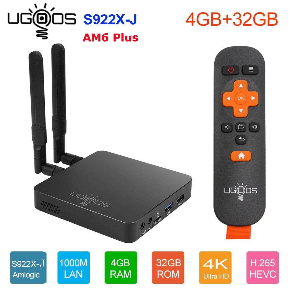 Ugoos am6 plus caixa de tv amlogic S922X-J smart android 9.0 caixa de tv ddr4 4 gb 32 gb 2.4g 5g wifi 1000 m bt ott 4 k caixa de tv media player