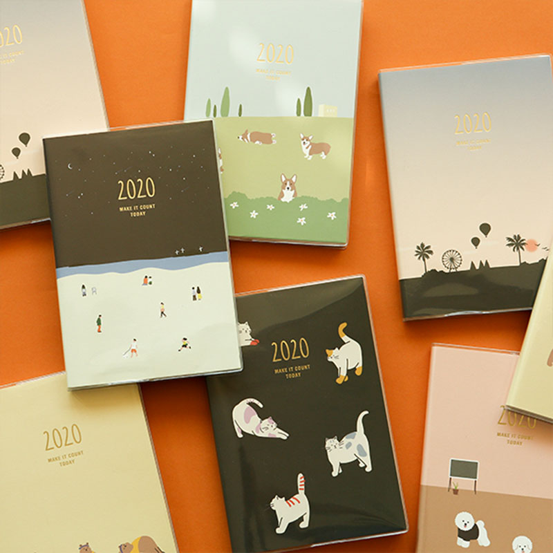2020 Cute Cartoon Animal Monthly Weekly Planner Make It Count Today Kawaii Notebook 152P Free Shipping