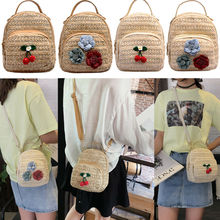 Women woven Backpack School Rattan bag Student School Bags For Teenage Girls summer beach bag travel mini backpack sac a dos недорого
