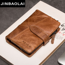 Cow Leather Men Wallets with Coin Pocket Vintage Male Purse Function Brown Genuine Leather Men Wallet with Card Holders