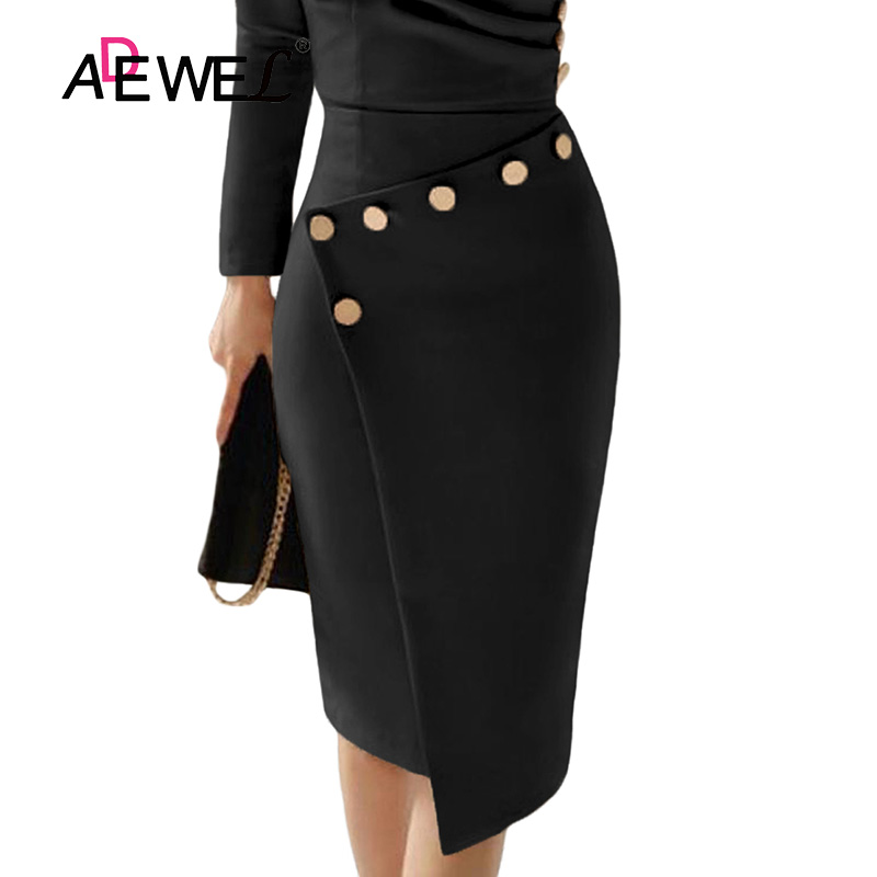 ADEWEL Button Detail White Ruched Bodycon Office Work Dress Women Long Sleeve V-Neck Party Midi Gown Dress 9