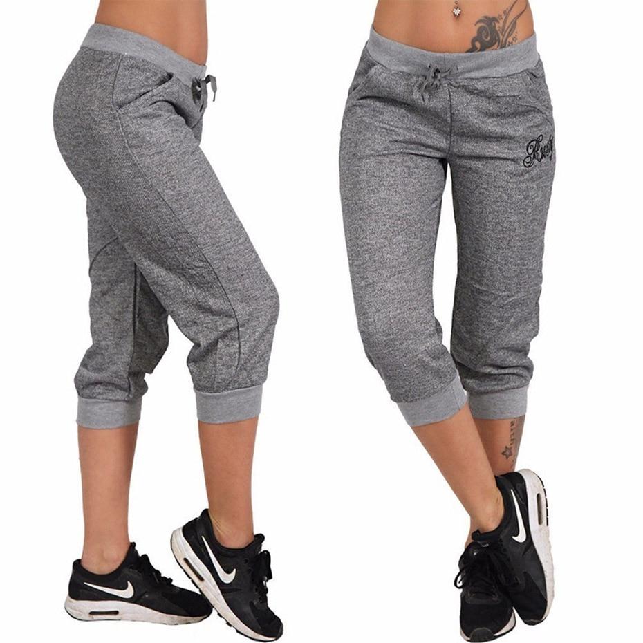 ZOGAA Women Summer Pants Sports Trousers Hoody Pants Mid Waist Capri Calf-Length Pockets S-XXXL women pants plus size S-3XL