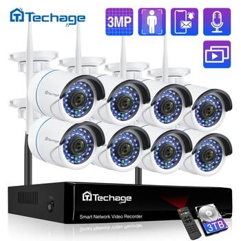 Techage Wireless 3MP 8CH CCTV Security NVR WIFI Camera Kit AI Audio Record Outdoor P2P IP Camera Video Surveillance System Set