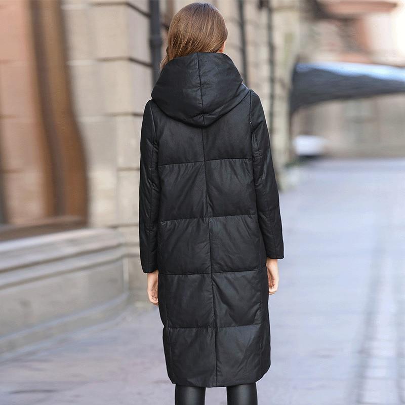 Genuine Leather Jacket Women Sheepskin Leather Duck Down Coat Winter Warm Thick Hooded Parkas Mujer 2020 ZN8576 MF349