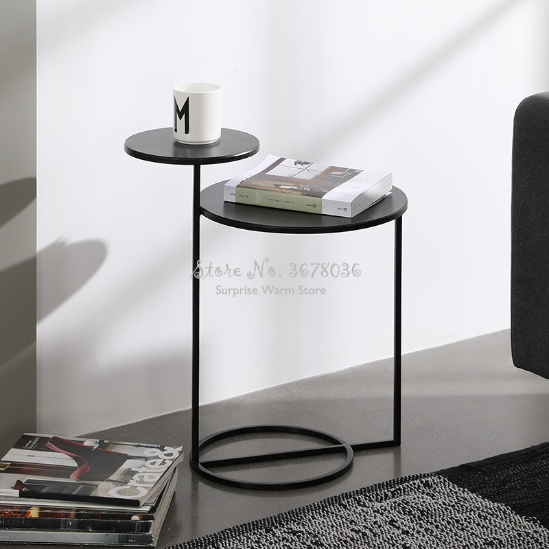 Modern Nordic Coffeetable  Fashion Side Table Two Layers Coffee Table Metal Desk Home Furniture Modern Living Room Sofa Side