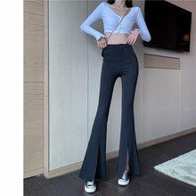 2021 novo trimestre feminino elástico cintura sólida flare calças elástico sino fundo preto dividir terno calças nova chegada roupas