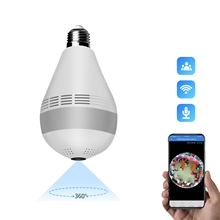 Indoor 2MP fisheye bulb WiFi camera IR night vision panoramic mini indoor alarm security camera
