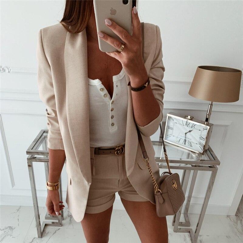 2019 Fashion Coat Women Autumn Winter Top Long Sleeve Office Lady Blazer Elegant Vintage OL Korean Blazer Veste Femme Streetwear