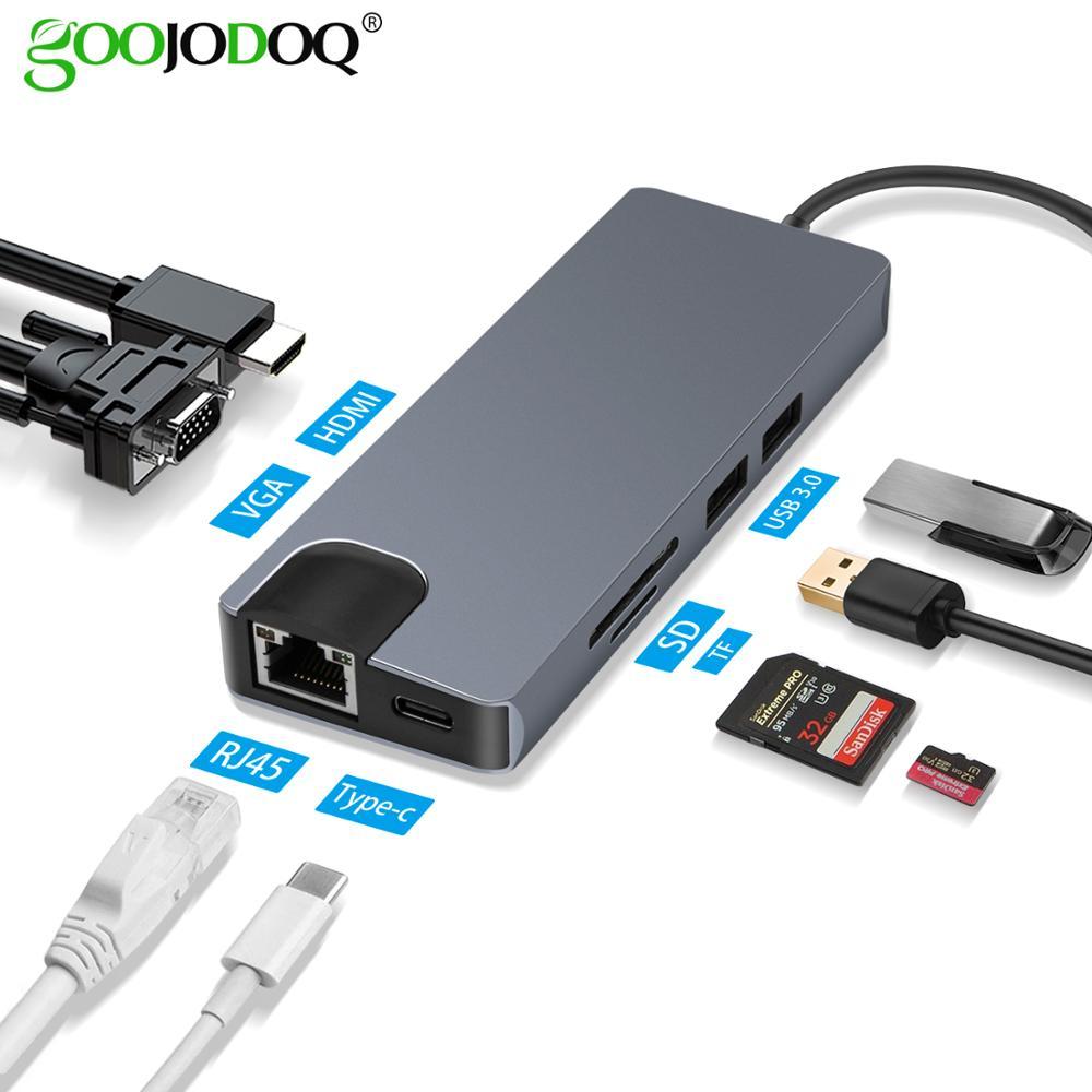 GOOJODOQ Multi USB C HUB To HDMI VGA Gigabit Ethernet RJ45 Adapter For MacBook Pro Card Reader Splitter USB 3.0 Type C PD Ports