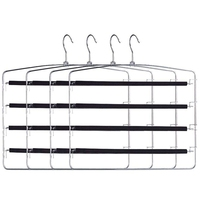 HLZS Multi Pant Hanger Slacks Hangers Space Saving Non Slip Multi Layers Swing Arm Space Saver Storage Pant Slack Hangers for Pa
