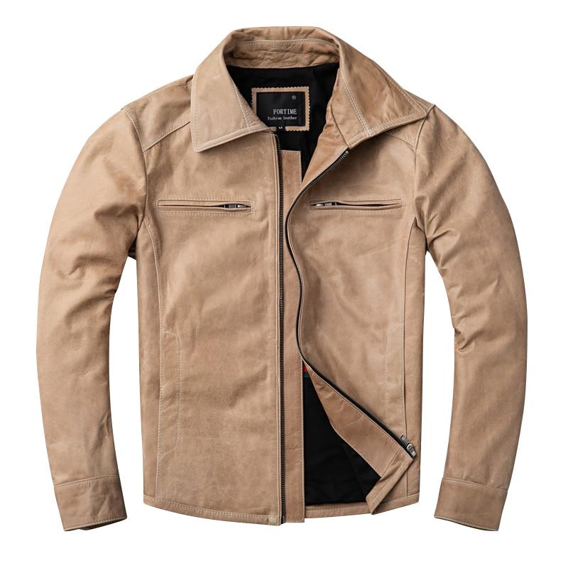 Free Shipping.casual Style,Plus Size Pakistani Oil Wax Sheepskin Jackets,men Genuine Leather Jacket.biker Leather Coat,sales