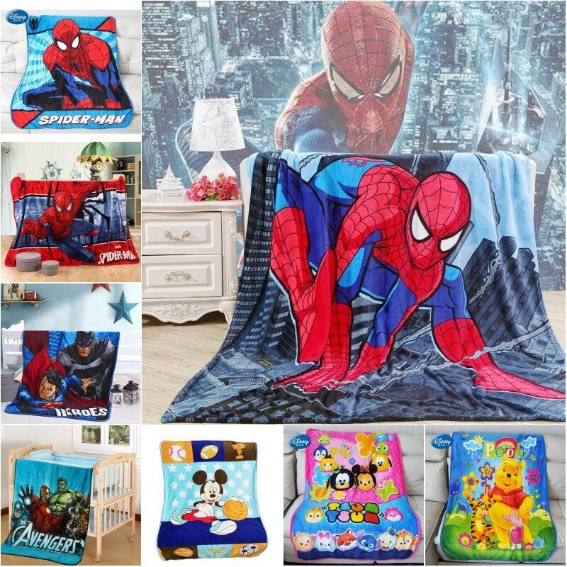Disney Cartoon Spiderman Superman Baby Blanket Throw 100x140cm Soft Flannel For Girls Boys Kids Gift Home Bedroom On Bed Sofa