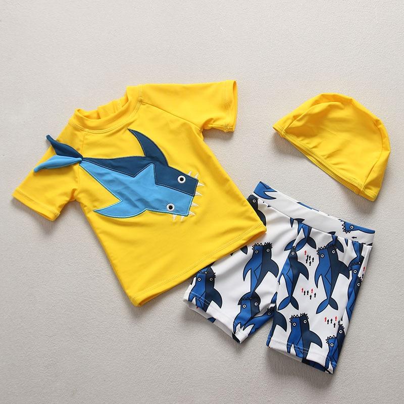 South Korea INS Summer New Style BOY'S Clothes With Short Sleeves Shark Swimwear Set Split Type Swimming Suit Children's Korean