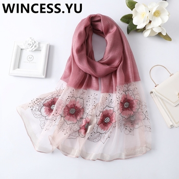 2019 spring autumn ladies silk scarf embroider scarves shawl and wraps long flower scarf for women pashmina scarves luxury chinese characters red silk scarves for women cashmere scarf winter spring long silk shawl wrap 175cm women accessories