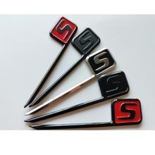 Chromowane czarne czerwone litery S odznaki emblematy znaczek z symbolem dla Mercedes Benz C63s E63s CLS63s S63s GLE63s GLC63s GLS63s AMG S tanie tanio HAODAO Iso9001 0inch Mercedes-benz 10cm Plastic ABS With high quality 3M type in back 2 3cm Chrome Painting Chrome Shiny silver with black