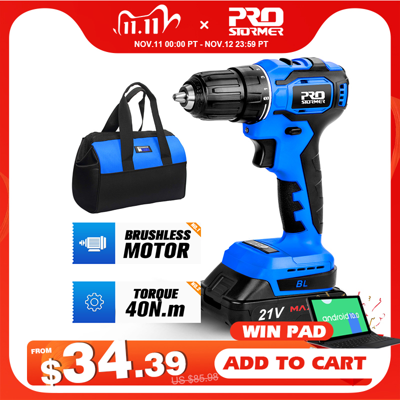 21V Brushless Electric Drill 40NM Cordless Screwdriver 2000mAh Battery Mini Electric Power Screwdriver Drill 5pcs Bit PROSTORMER|Electric Drills| - AliExpress