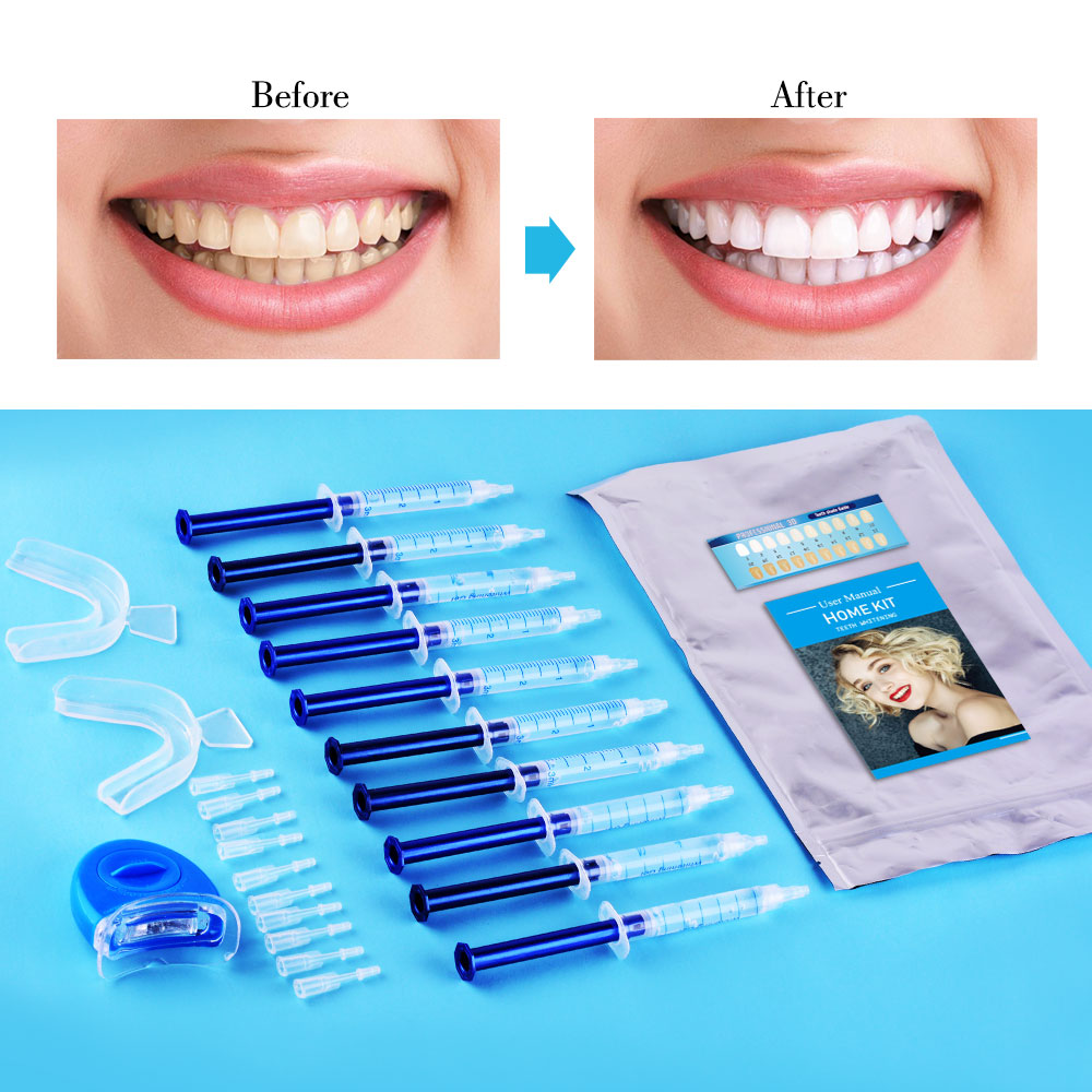 10PCS Top Quality Dental Peroxide Teeth Whitening Kit Bleaching System Bright White Smile Teeth Whitening Gel Kit With LED Light