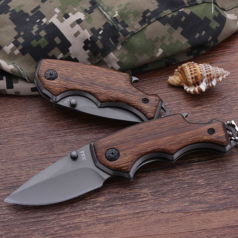 Gray Color 5CR15MOV Blade Knives Keychain Mini Pocket Folding Hunting Knife Tactical Survival Knives Wood Handle Hand Tools