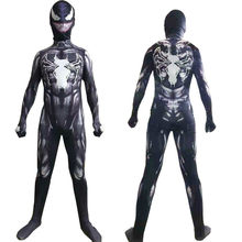 Film Venom Cosplay Kostüm Kinder Erwachsene Superhelden Spider Mann Overall Lycra Body(China)
