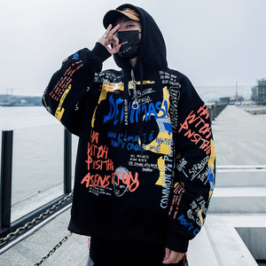 Image 4 - ผู้ชาย Hip Hop Graffiti Hoodie เสื้อกันหนาว Harajuku Streetwear Hooded Pullover ผ้าฝ้ายฤดูใบไม้ร่วงฤดูหนาว 2019 พิมพ์กราฟิก Hoodie สีดำ