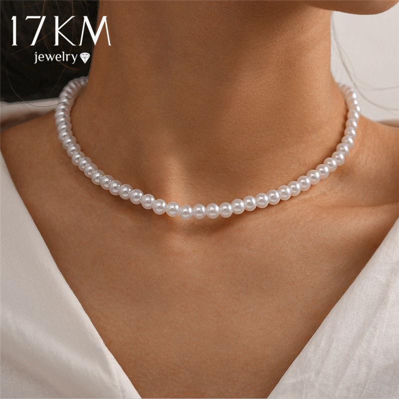 17KM Elegant White Imitation Pearl Choker Necklace Big Round Pearl Wedding Necklace for Women Charm Fashion Jewelry