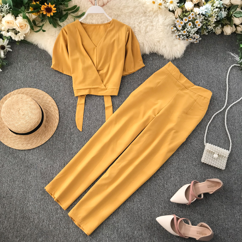 Fashion Suit Woman 2019 New V Neck Short Sleeve High Waist Short Crop Tops + Trousers Two Piece Sets J638 thumbnail