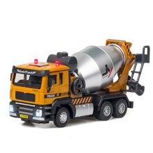 1:50 brinquedo veículo liga caminhão de engenharia diecast metal mixer máquina escavadora conjunta móvel som luz puxar para trás carro de brinquedo para meninos presente