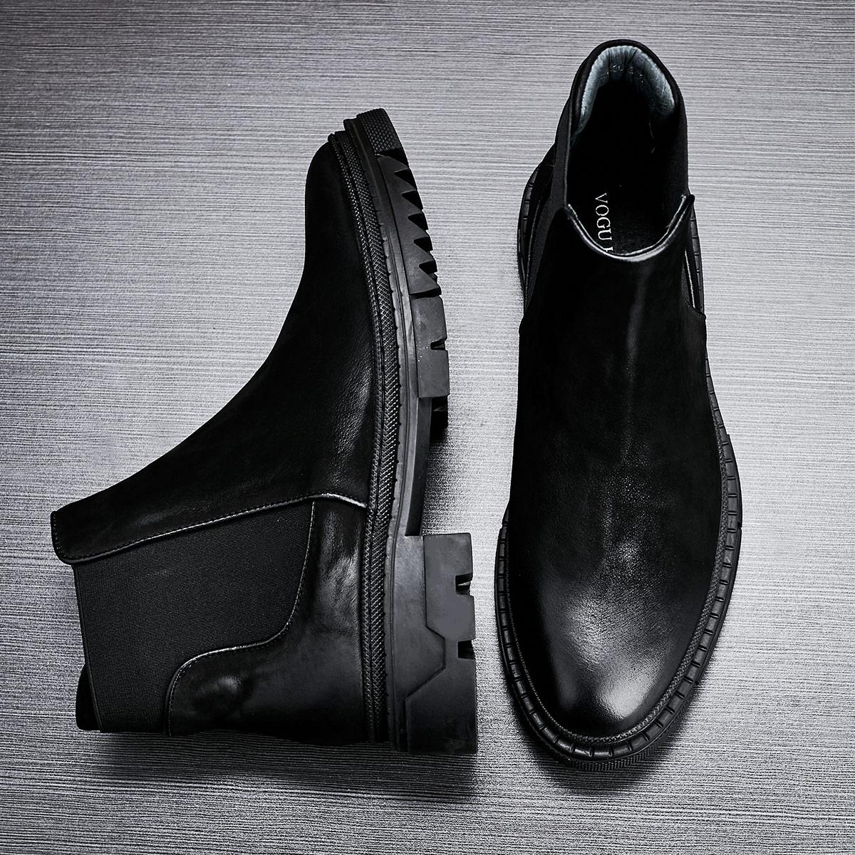 Bottoms grossas botas Chelsea Alta Qualidade do Couro Genuíno botas de outono inverno homens Britânicos sapatos de couro botas de combate militar - 3
