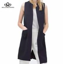 Bella Philosophy blazer casual women vest waistcoat women long suit vest female jacket coat black pockets office lady