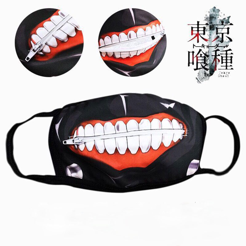 Anime Tokyo Ghoul Kaneki Ken Face Masks Zipper Cycling Anti-dust Mask Halloween Cosplay Pros