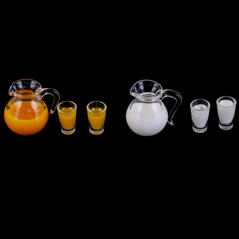 1:12 Miniature Milk Juice Jug Cup Set Model Doll House Dining Room Accessories