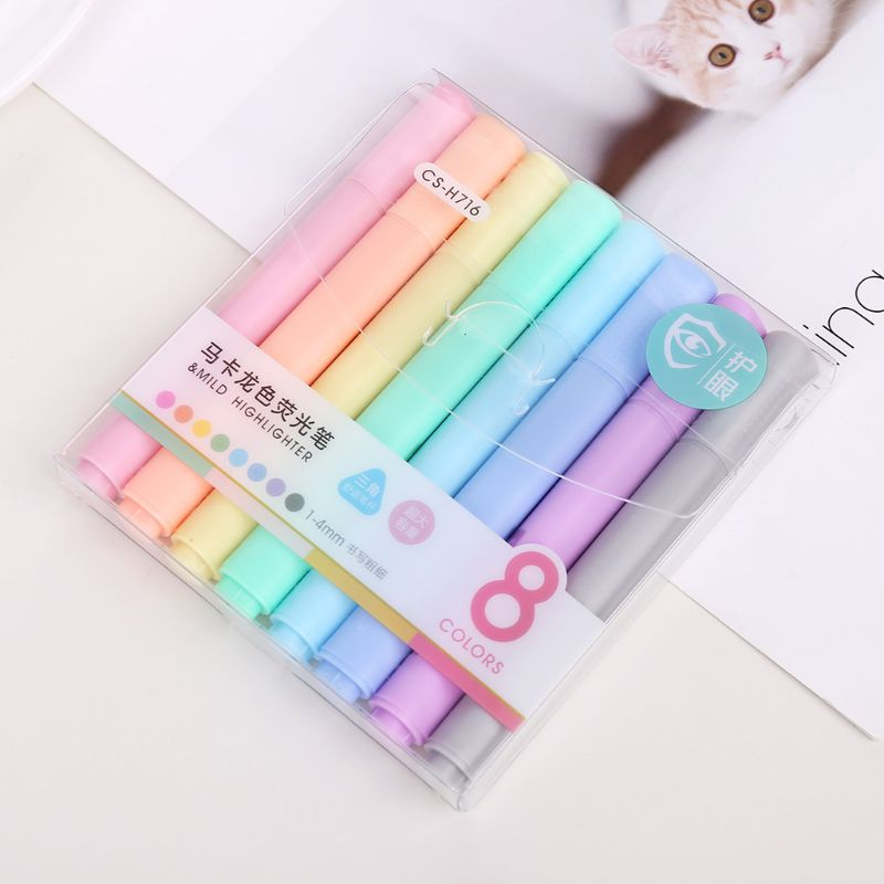 8pcs/set Creative Fluorescent Pen Highlighter Pencil Candy Color Drawing Marker