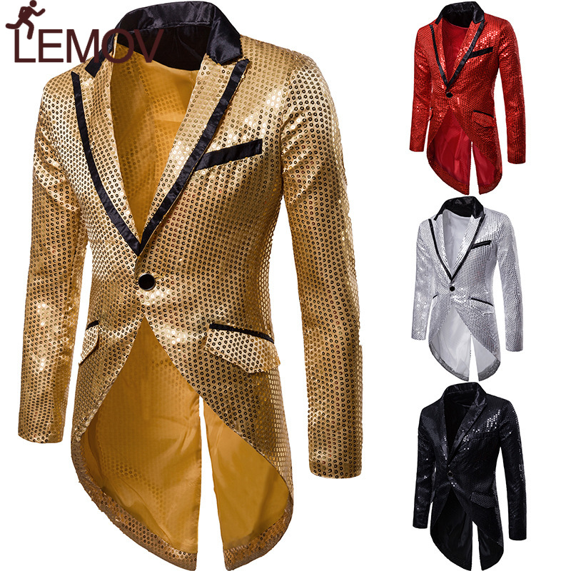Mens Shiny Gold Sequin Glitter Tailcoat Jacket Brand New Slim Fit One Button Long Tuxedo Blazer Party Stage Singer Costume Homme