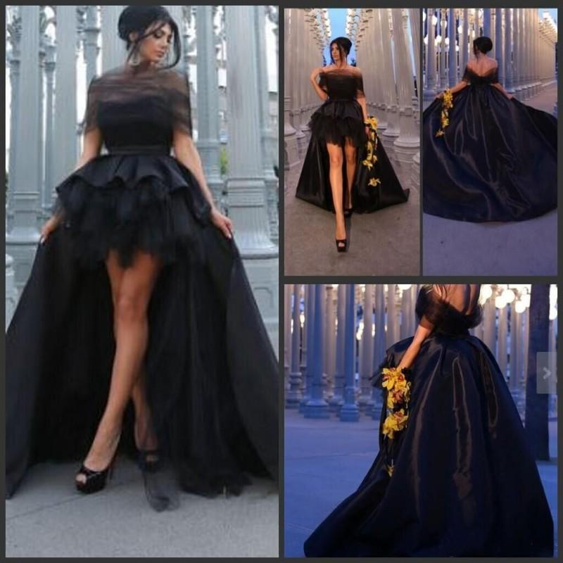 Elegant Black Off The Shoulder Prom Dresses 2019 Vestidos De Gala Longo High Low Formal Evening Gowns Sexy Backless Prom Dress