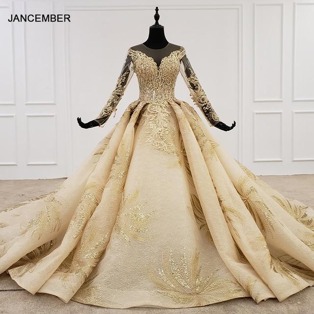 HTL1124 זהב תחרה חתונה שמלות נסיכה לחתוך o צוואר פאייטים ארוך שרוול שמלות כלה שמפניה vestido דה noiva מנגה longa