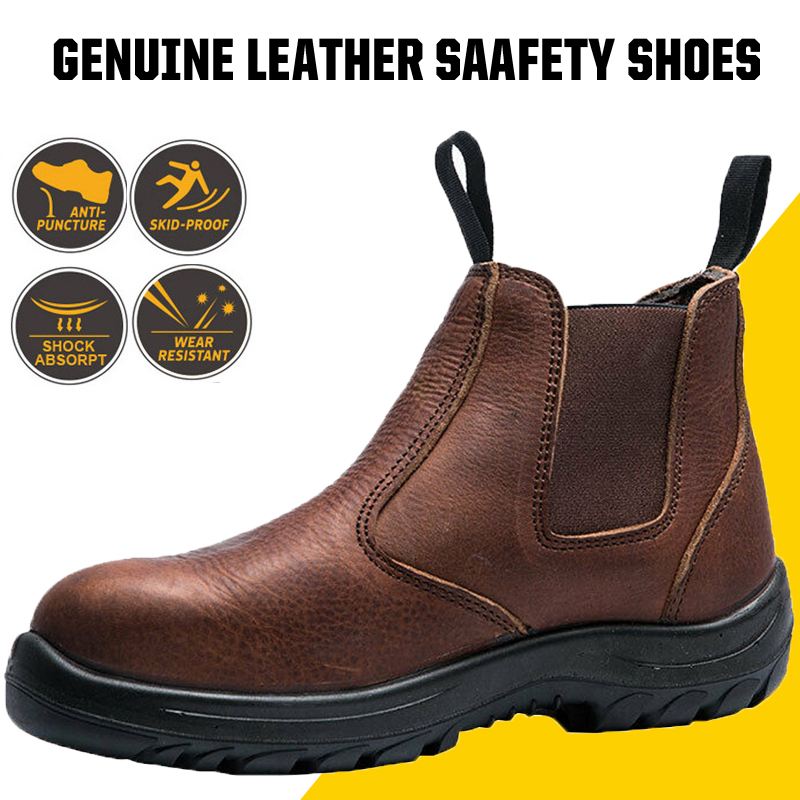 Work Shoes Waterproof Genuine Leather Safety Shoes Men Puncture Proof Working Boots Outdoor Chelsea Ankle Shoes