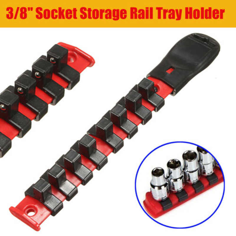 Quick release omkeerbare ratelsleutel 3/8 Drive Socket Rack Opslag Rail Lade Houder Plank Organisator Tool W/8 Clips drive set