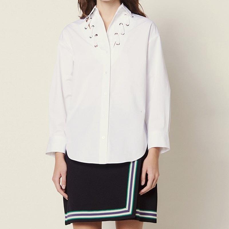 2019 nouveau femmes blanc coton Blouse à manches longues col rabattu perforé cravate sentir mode petit haut