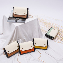 ri han feng Contrast Small Package Shoulder Bag 2020 Summer New Double Spacer Chain Shoulder Messenger Mobile Phone Bag summer on new small bag woman package 2019 new pattern han banchao single shoulder satchel fashion concise joker fairy package