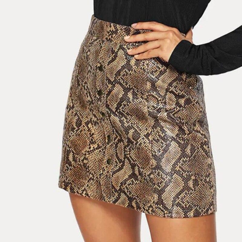 PU Faux Leather Skirt Women Sexy High Waist Pencil Mini Python Snake Print Skirt 2019 New Fashion Party Bodycon Snakeskin Skirts
