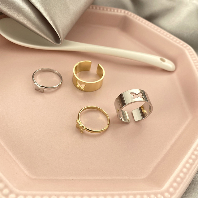 Punk Simple Style Lovers Butterfly Opening Ring Creative Women Gold Silver Color 2-Piece Ring Jewelry Gifts For Good Friends 1