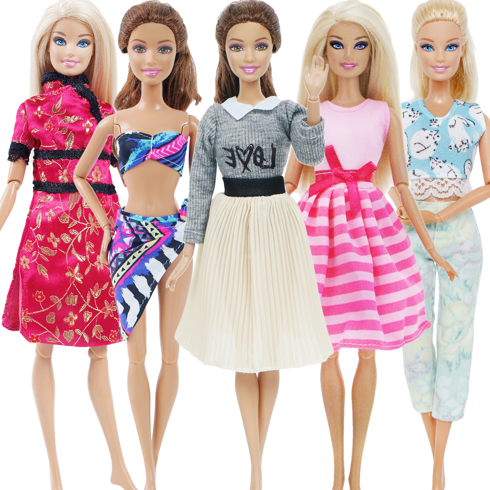 5x Lady Daily Doll Outfits Lot Swimsuits Sweater Mini Skirt Pants Vest Dress Clothes For Barbie Doll House Accessories Toy Set