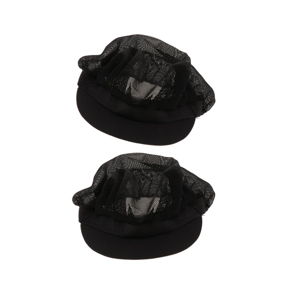 2 Black Mesh Cook Adjustable Men Women Kitchen Baker Chef Elastic Cap Hat Catering