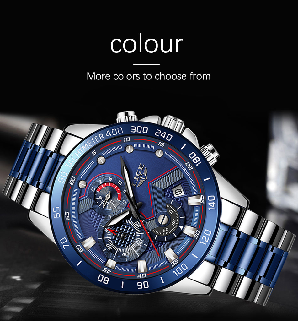 Hc2bafa472e8b480b94fecdde5543ed06I Relogio Masculino LIGE Hot Fashion Mens Watches Top Brand Luxury Wrist Watch Quartz Clock Blue Watch Men Waterproof Chronograph